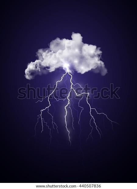 Bright realistic transparent lightning. Dark blue thunderstorm sky illustration.
