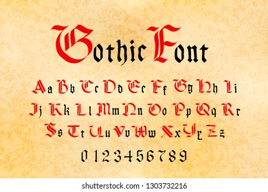 Bright red and black gothic font, set of medieval letters and numbers on old paper