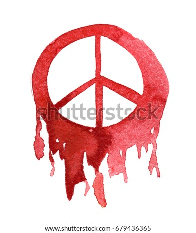 bright red bleeding peace sign painted stock illustration 679436365