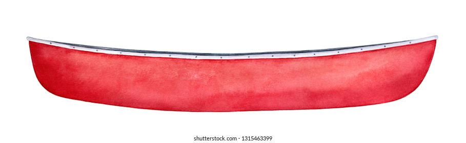 Bright red canoe watercolour illustration. One single object, side view, closeup. Symbol of friendship, camping, journey. Hand painted water colour graphic drawing, cutout clip art element for design.