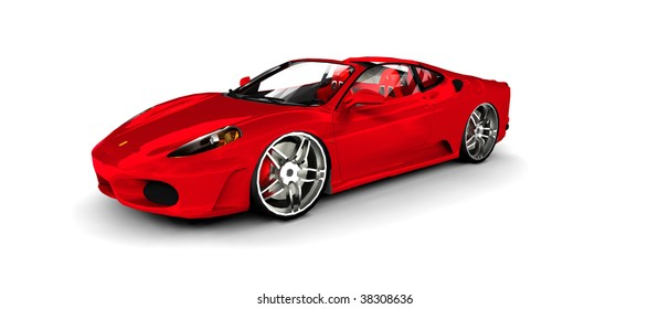 Bright Red convertible Sportscar / sports car, isolated on white projection View