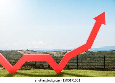 Bright red growing graph in green field with beautiful mountain scenery in background. Concept of business success. 3d rendering