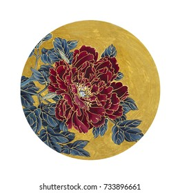 Bright red peony in a circle