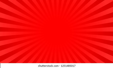 Bright red rays background with 16 9 aspect ratio. Comics, pop art style.