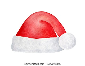 Bright red Santa hat with cute fluffy pom-pom for Christmas party. One single object, front view. Hand painted water color illustration, cut out clip art element for design, collages and decoration.