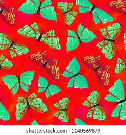 Bright red seamless pattern with butterflies.Hand painted textured illustration for textile, printing, fabric, design.
