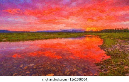 Bright red sunset on the northern river. Oil paints. Digital structure of painting