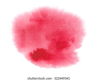 Bright red watercolor stain with watercolour paint stroke and wash edges