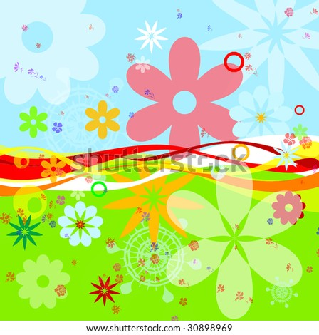 0ef1be19 Bright Rich Colour Summer Flowers Raster Stock Illustration 30898969 ...