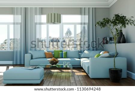 Bright Room Grey Sofa Front Window Stock Illustration 1130694248