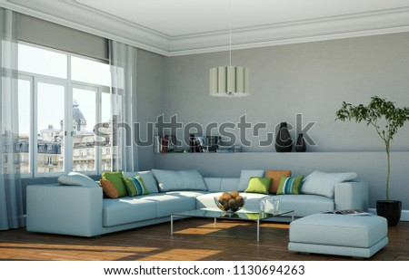 Royalty Free Stock Illustration Of Bright Room Grey Sofa Front