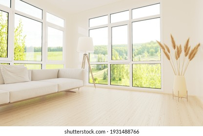 A bright room with a modern minimalist design.  There is a sofa,  floor lamp and flowers against the walll.  Side panoramic window overlooking the summer landscape.  3D illustration