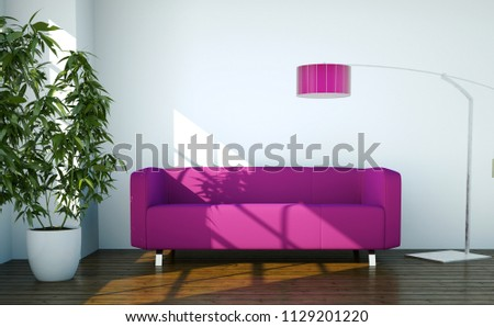 Bright Room Pink Sofa Front Window Stock Illustration 1129201220
