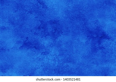 bright saturated blue raster background. creative template for design cards and invitations. hand drawn texture with watercolor acrylic gouache ink painting. art pattern
