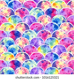 Bright scales shapes abstract grunge colorful splashes texture watercolor seamless pattern design in all rainbow colors palette