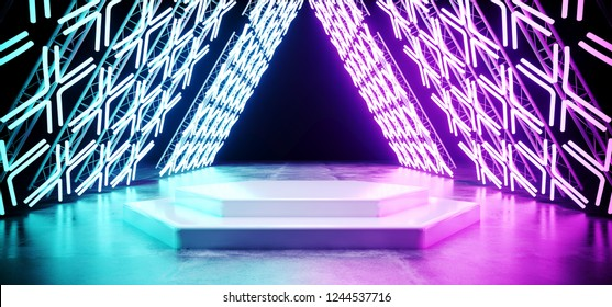 Bright SciFi Modern Futuristic Retro Triangle Shaped Stage Construction With Neon Glowing Cross Shaped Purple Blue Lights On Concrete Reflection Floor With White Stage Podium 3D Rendering Illustration