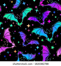 bright seamless background of bats and stars