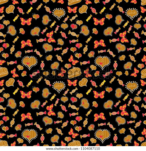 Bright seamless confetti party pattern. Colorful sugar sprinkle, candy or bakery design on a black, orange and red background.
