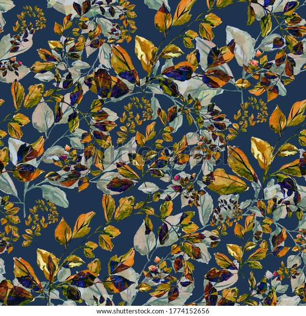 Bright seamless pattern a background with autumn roses leaves