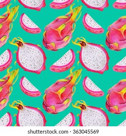 Bright seamless pattern with dragon fruit or pitaya on blue background. Illustration of tropical dragonfruit or pitahaya drawn by hand with colored pencils.