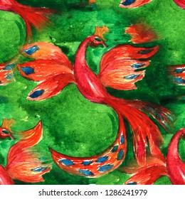 Bright Seamless pattern Firebird hand-drawn watercolor. watercolor drawing.