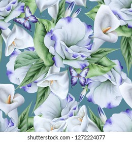 Bright seamless pattern with flowers. Calla. Eustoma. Watercolor illustration. Hand drawn.