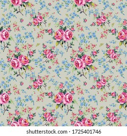 Bright seamless pattern flowers drawn on paper paints.Stylish print for textile design and decoration.