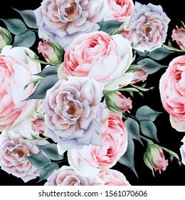 Bright seamless pattern with flowers. Rose. Watercolor illustration. Hand drawn.