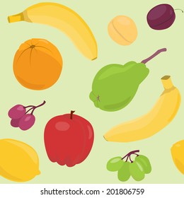 Bright seamless pattern with fruits over green. Raster version.