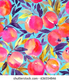 Bright seamless pattern with hand painted watercolor peaches. Stylish fruit design.