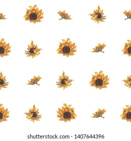 Bright seamless pattern with sunflowers. Hand drawn watercolor flowers. Background for textiles, packaging and decoration.