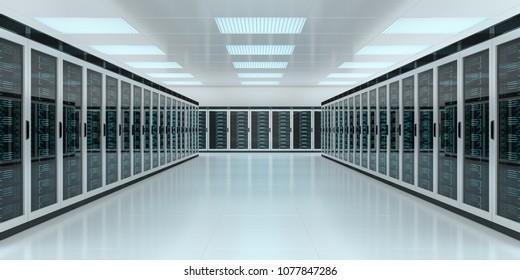 Bright server room data center storage interior 3D rendering