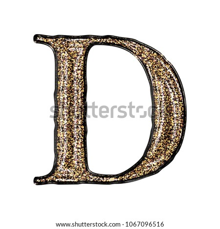 6e044cc1ea2d Bright shiny gold glitter letter D (uppercase or capital) in a 3D  illustration with