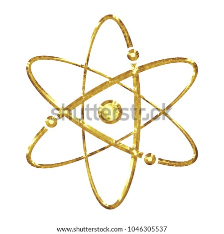 Bright Shiny Gold Metal Style Atomic Stock Illustration 1046305537