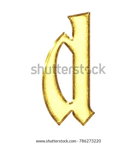 a24244ef362c Bright shiny gold metallic lowercase or small letter D in a 3D illustration  with a vivid