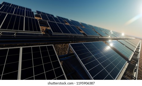 Bright Sky Above the Solar Panel Field 3d rendering