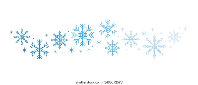 bright snowflake and stars border isolated on white background illustration