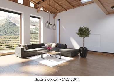 Bright spacious modern luxury living room with double volume wood ceiling and large view windows overlooking forested mountains letting in sunlight. 3d rendering
