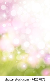 A bright spring background with green and pink bokeh effects.