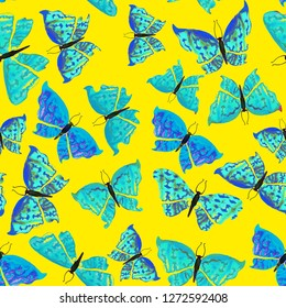Bright Spring Seamless Pattern With Blue Butterflies On Yellow Background. Can Be Used For Fabric, Wallpaper, Stationery, Packaging