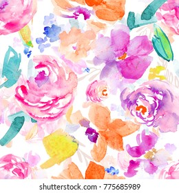 Bright, Spring, Tropical Watercolor Floral Pattern on White Background that Repeats Seamlessly