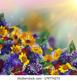 bright springtime bouquet of colorful flowers