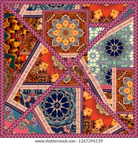 Bright Square Patchwork Pattern Mexican Indian Stock Illustration
