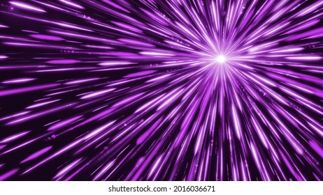 Bright star emits colored lines. Animation. White dot emits bright and colored rays in outer space. Cosmic point that emits light and linear rays