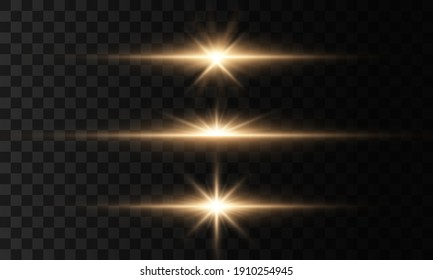 Bright star, sparkles transparent shining sun, flash light effect. Glowing lights and stars isolated on transparent background. Set of light explodes. Sparkling magical dust particles.