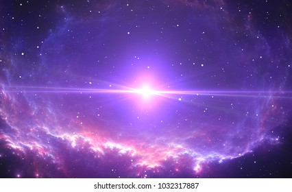 The bright star, supernova in the center of the nebula. 3D illustration