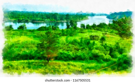 A bright summer day, a landscape on the lake. Watercolor. Digital structure of painting