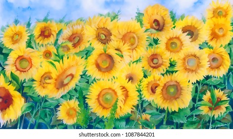 Bright summer field of yellow sunflowers in cartoon style