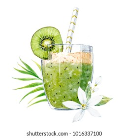 Bright summer watercolor illustration of a green smoothie with kiwi, white flower, neroli, palm leaf tropical print, vegan healthy fruit drink
