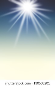 bright sun and clear sky background.